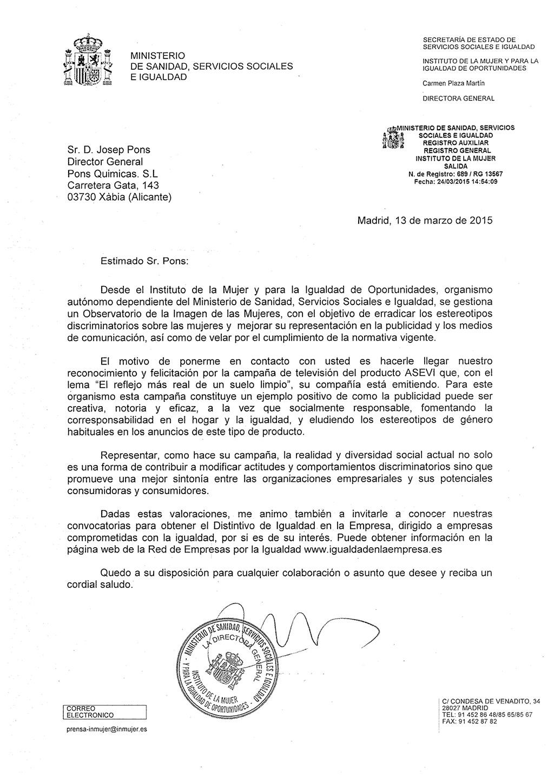 felicitación del Ministerio de Sanidad, Servicios Sociales e Igualdad a Pons Químicas
